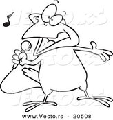 Vector of a Cartoon Singing Canary - Coloring Page Outline by Toonaday