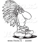 Vector of a Cartoon Sitting Chief - Coloring Page Outline by Ron Leishman