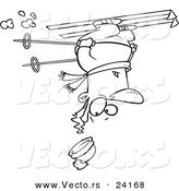 Vector of a Cartoon Skier Upside down - Coloring Page Outline by Toonaday