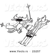 Vector of a Cartoon Skiing Cow - Coloring Page Outline by Toonaday