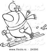 Vector of a Cartoon Skiing Polar Bear - Outlined Coloring Page by Ron Leishman