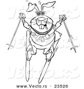 Vector of a Cartoon Skiing Rabbit - Coloring Page Outline by Toonaday