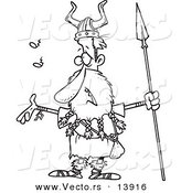 Vector of a Cartoon Skinny Male Viking Holding a Spear and Singing - Coloring Page Outline by Toonaday