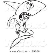Vector of a Cartoon Skinny Starving Shark - Outlined Coloring Page by Toonaday