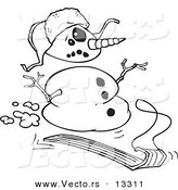 Vector of a Cartoon Sledding Snowman - Coloring Page Outline by Toonaday