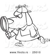 Vector of a Cartoon Sleuth Dog Using a Magnifying Glass - Outlined Coloring Page by Toonaday