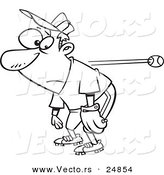 Vector of a Cartoon Slow Reacting Baseball Player Ignoring the Ball - Outlined Coloring Page by Ron Leishman