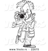 Vector of a Cartoon Snappy Photographer - Coloring Page Outline by Toonaday