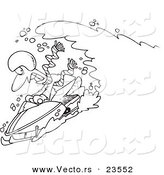 Vector of a Cartoon Snow Chasing a Snowmobiling Guy - Coloring Page Outline by Ron Leishman