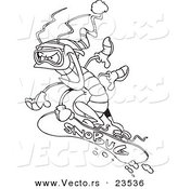 Vector of a Cartoon Snowboarding Bug - Coloring Page Outline by Ron Leishman