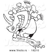 Vector of a Cartoon Snowboarding Rhino - Outlined Coloring Page by Toonaday