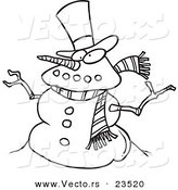 Vector of a Cartoon Snowman - Coloring Page Outline by Toonaday