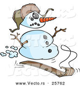 Vector of a Cartoon Snowman Sledding down Hill by Toonaday