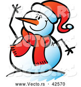 Vector of a Cartoon Snowman Waving While Smiling by Zooco
