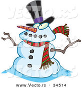 Vector of a Cartoon Snowman Wearing a Hat and Scarf by Toonaday