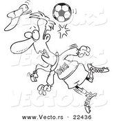 Vector of a Cartoon Soccer Ball Hitting a Coach - Coloring Page Outline by Toonaday