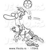 Vector of a Cartoon Soccer Ball Hitting a Referee - Coloring Page Outline by Ron Leishman