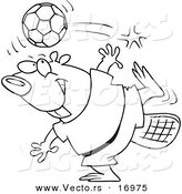Vector of a Cartoon Soccer Beaver - Coloring Page Outline by Toonaday