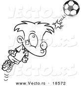 Vector of a Cartoon Soccer Boy Bouncing a Ball off His Head - Outlined Coloring Page by Ron Leishman