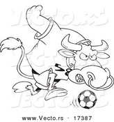 Vector of a Cartoon Soccer Bull - Coloring Page Outline by Toonaday