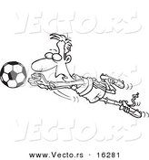 Vector of a Cartoon Soccer Goalie Leaping Towards a Ball - Outlined Coloring Page Drawing by Toonaday