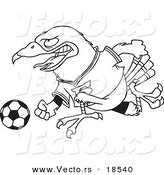 Vector of a Cartoon Soccer Hawk - Outlined Coloring Page by Ron Leishman