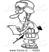 Vector of a Cartoon Soldier Reading a Letter - Outlined Coloring Page by Toonaday
