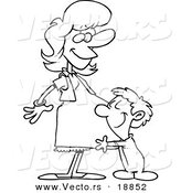 Vector of a Cartoon Son Hugging His Pregnant Mom - Outlined Coloring Page by Toonaday
