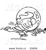 Vector of a Cartoon Space Boy Using a Ray Gun - Coloring Page Outline by Ron Leishman
