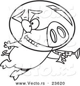 Vector of a Cartoon Space Pig Using a Ray Gun - Coloring Page Outline by Toonaday