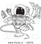 Vector of a Cartoon Space Tourist - Coloring Page Outline by Toonaday