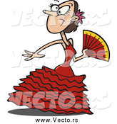 Vector of a Cartoon Spanish Beautiful Flamenco Dancer by Ron Leishman