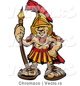 Vector of a Cartoon Spartan Boy Armed with a Spear While Smiling by Chromaco