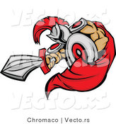 Vector of a Cartoon Spartan Mascot Jabbing Outwards with Sword While Using Shield As Protection by Chromaco
