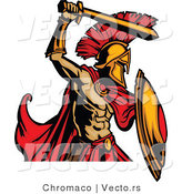 Vector of a Cartoon Spartan Roman Warrior Striking with His Sword by Chromaco