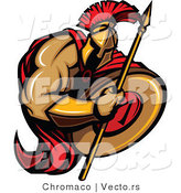 Vector of a Cartoon Spartan Warrior Holding Spear and Shield During Battle by Chromaco