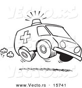 Vector of a Cartoon Speeding Ambulance - Outlined Coloring Page Drawing by Toonaday