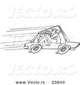 Vector of a Cartoon Speeding Driver - Coloring Page Outline by Toonaday