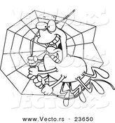 Vector of a Cartoon Spider Swinging on Silk - Coloring Page Outline by Toonaday