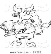 Vector of a Cartoon Sports Bull Holding a Trophy Cup - Coloring Page Outline by Toonaday