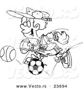 Vector of a Cartoon Sporty Boy with a Baseball Glove, Basketball, Football and Soccer Ball - Coloring Page Outline by Toonaday