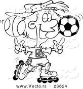 Vector of a Cartoon Sporty Girl Roller Blading with a Basketball and Soccer Ball - Coloring Page Outline by Ron Leishman