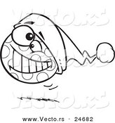 Vector of a Cartoon Spotted Christmas Ball Bouncing - Outlined Coloring Page by Toonaday