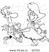Vector of a Cartoon Square Dancing Couple - Coloring Page Outline by Toonaday
