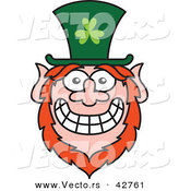 Vector of a Cartoon St. Paddy's Day Leprechaun with a Big Worried Smile by Zooco