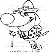 Vector of a Cartoon St Patricks Day Dog Leaning on a Cane - Coloring Page Outline by Toonaday