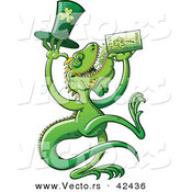 Vector of a Cartoon St. Patrick's Day Iguana Drinking Beer from Clover Mug by Zooco