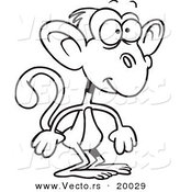 Vector of a Cartoon Standing Monkey - Outlined Coloring Page by Toonaday