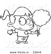 Vector of a Cartoon Sticky Girl Eating Cotton Candy - Coloring Page Outline by Toonaday