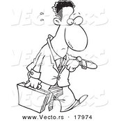 Vector of a Cartoon Stressed and Late Black Businessman - Outlined Coloring Page by Ron Leishman